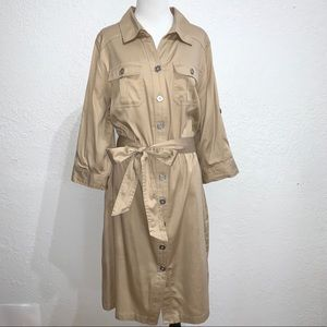 Avenue Khaki Safari Cargo Dress Sateen Cotton